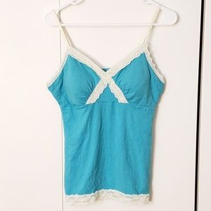 True Freedom Intimates & Sleepwear - lace trimmed teal padded pajama V neck tank top